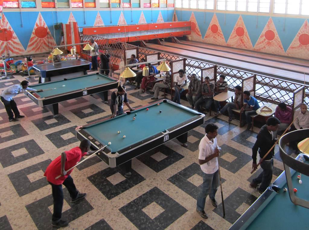 Shooting pool in style in Asmara, Eritrea