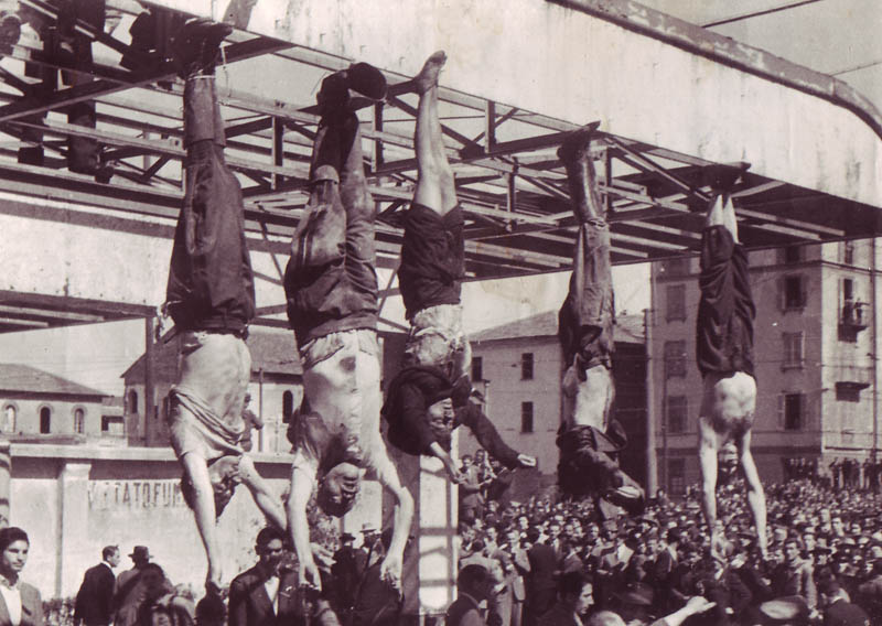 Mussolini and pals hanging around in Milan, 28 April 1945